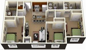 Thiết kế nhà với ba phòng ngủ